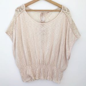 Free People Lace Crinkle Jersey Peasant Blouse